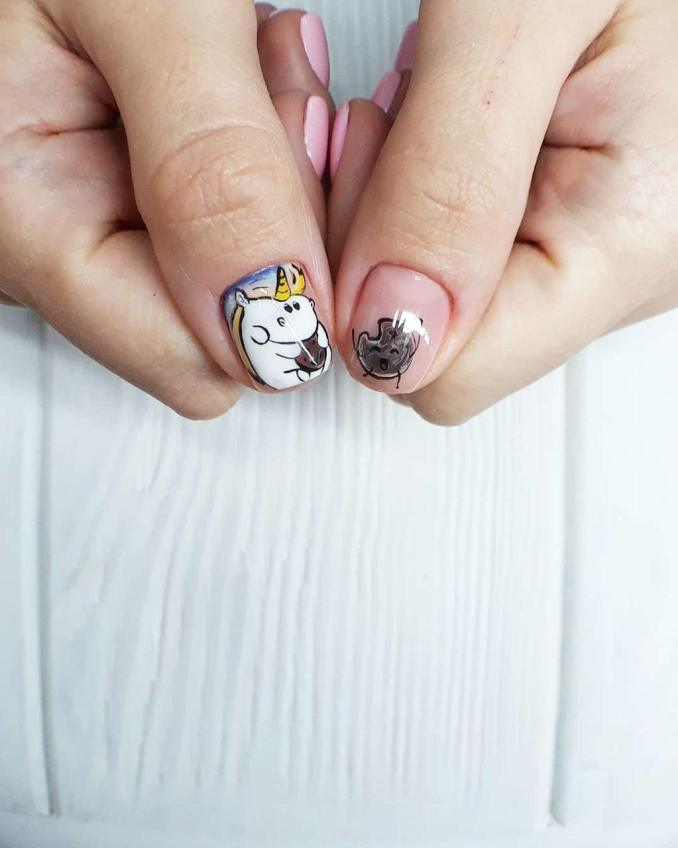 Bright nail art with a unicorn: stylish ideas for manicure in the photo and how to do it 69