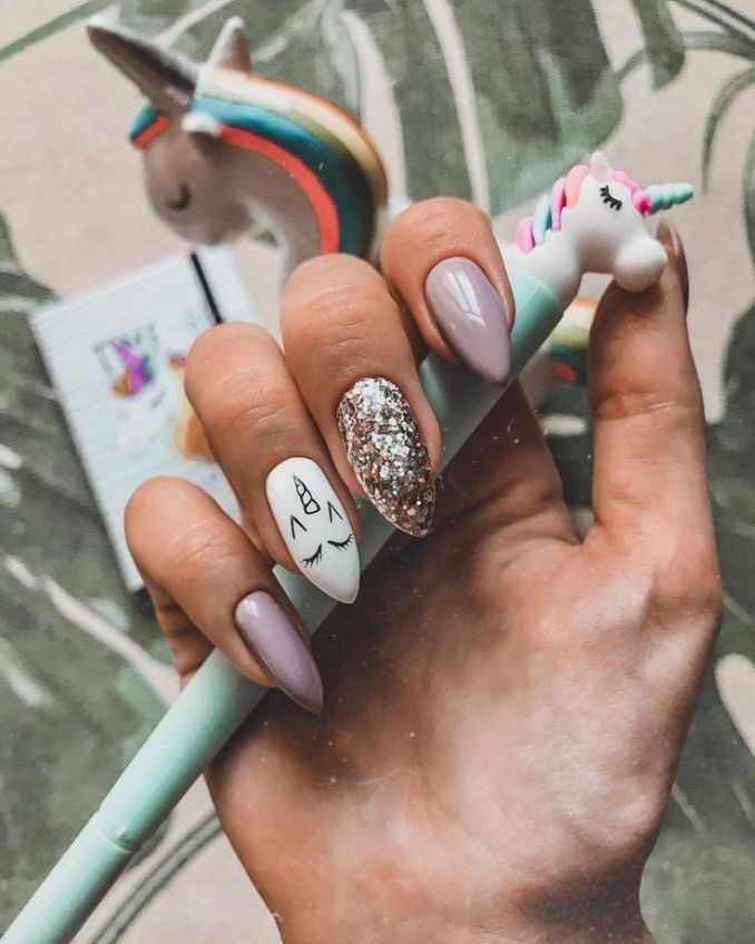 Bright nail art with a unicorn: stylish ideas for manicure in the photo and how to do it 102