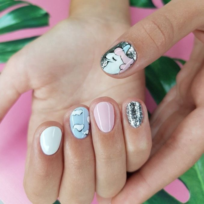 Bright nail art with a unicorn: stylish ideas for manicure in the photo and how to do it 103