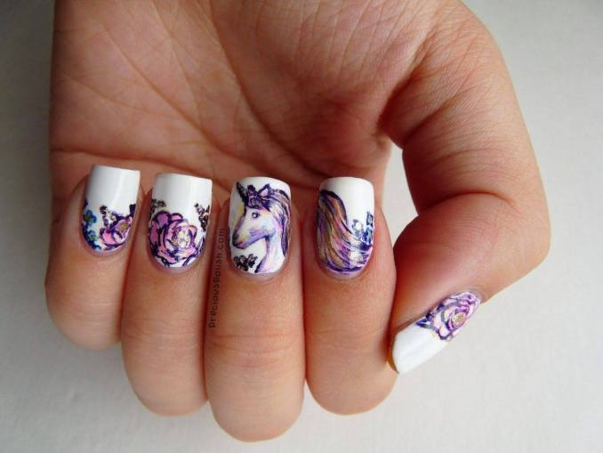 Bright nail art with a unicorn: stylish ideas for manicure in the photo and how to do it 9