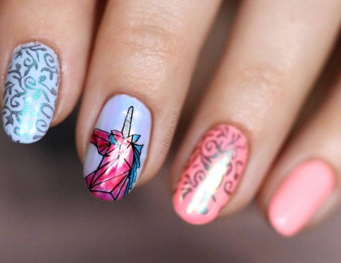 Bright nail art with a unicorn: stylish ideas for manicure in the photo and how to do it 11