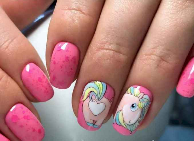 Bright nail art with a unicorn: stylish ideas for manicure in the photo and how to do it 65