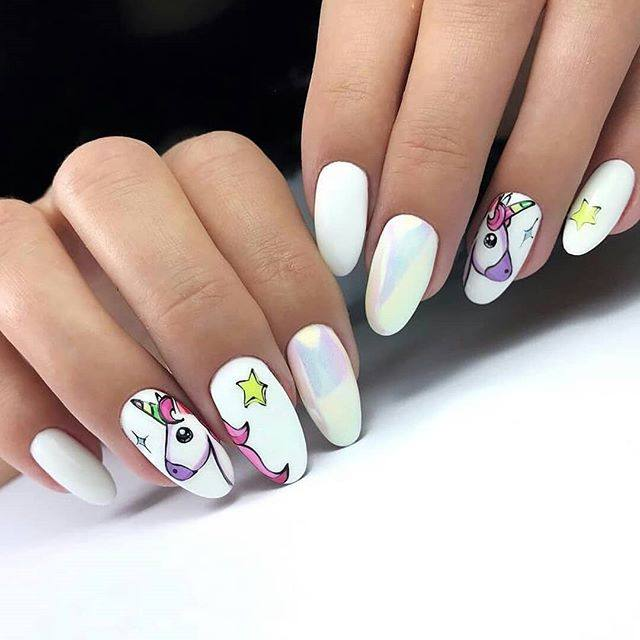 Bright nail art with a unicorn: stylish ideas for manicure in the photo and how to do it 107