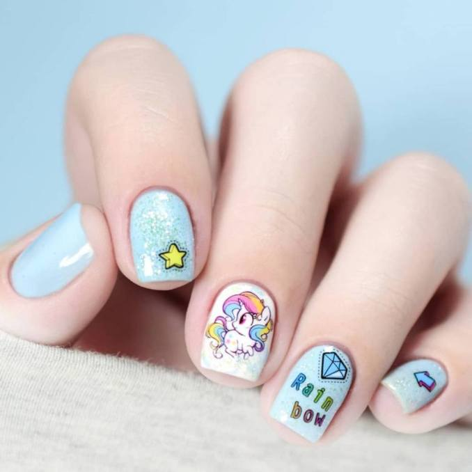 Bright nail art with a unicorn: stylish ideas for manicure in the photo and how to do it 78