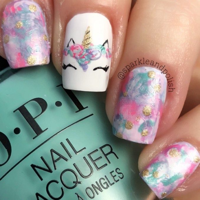 Bright nail art with a unicorn: stylish ideas for manicure in the photo and how to do it 109