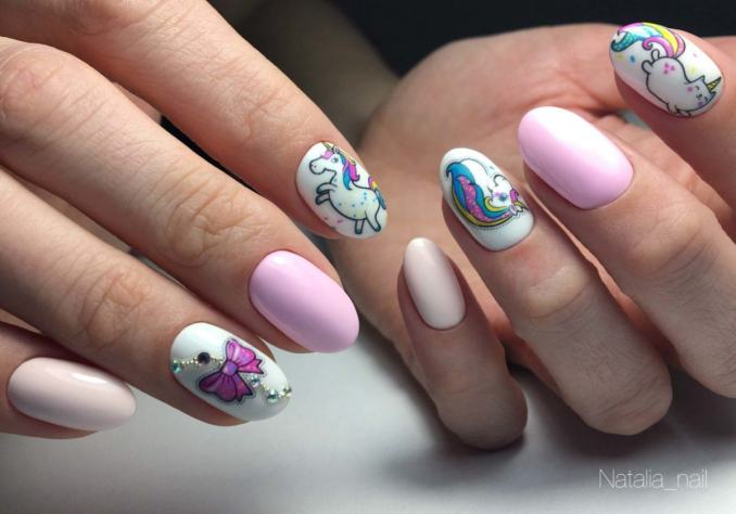 Bright nail art with a unicorn: stylish ideas for manicure in the photo and how to do it 18