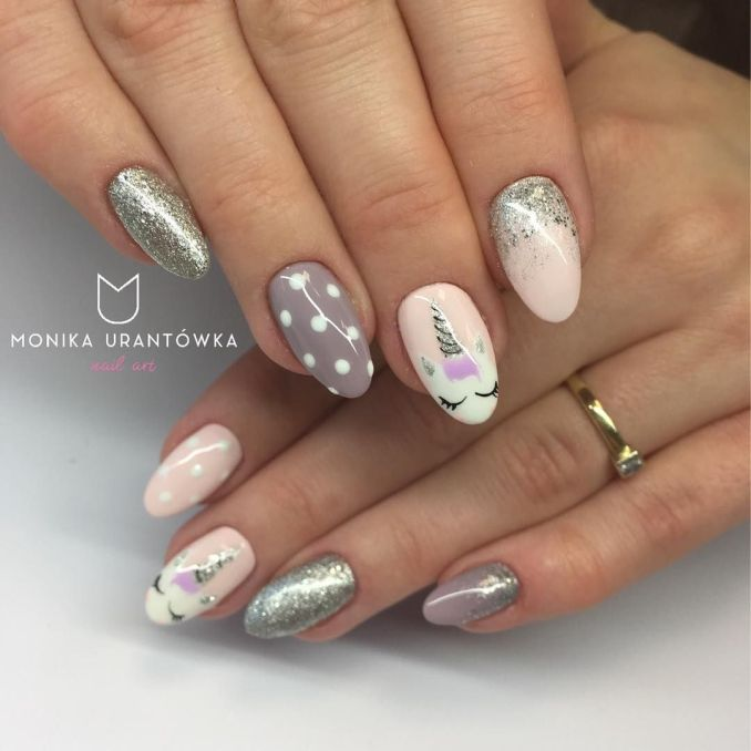 Bright nail art with a unicorn: stylish ideas for manicure in the photo and how to do it 35