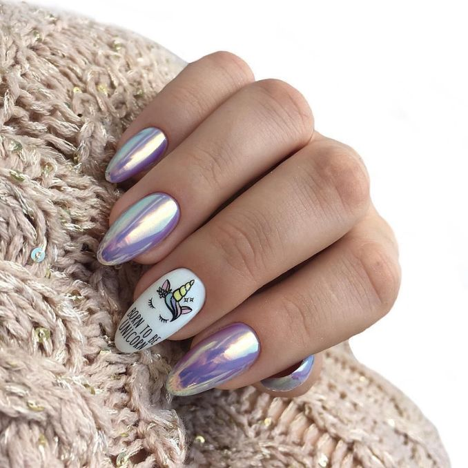 Bright nail art with a unicorn: stylish ideas for manicure in the photo and how to do it 37