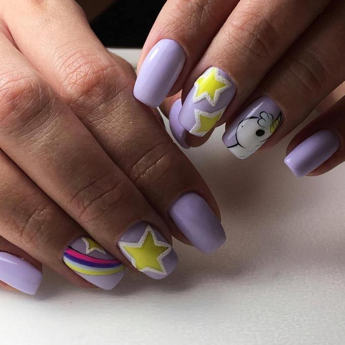 Bright nail art with a unicorn: stylish ideas for manicure in the photo and how to do it 39