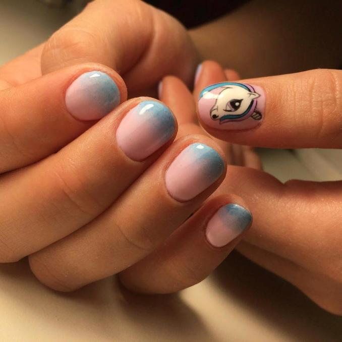 Bright nail art with a unicorn: stylish ideas for manicure in the photo and how to do it 82