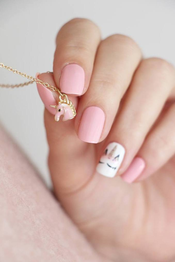 Bright nail art with a unicorn: stylish ideas for manicure in the photo and how to do it 110