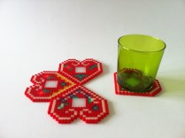 pixelated licitar hearts - coasters
