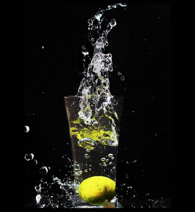 Lemon Soda on Dark Background