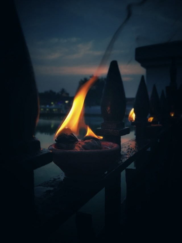 Flame on a clay pot