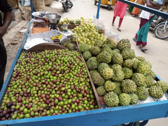 A hawker selling fruits