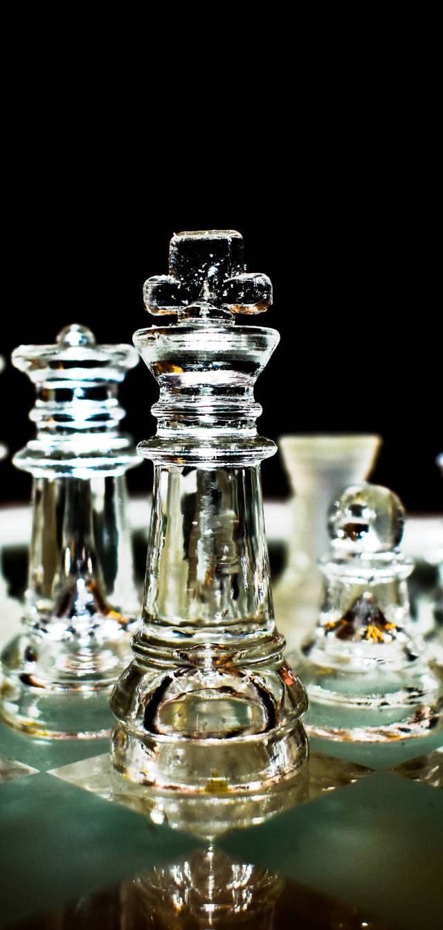 Chess pieces made of glass