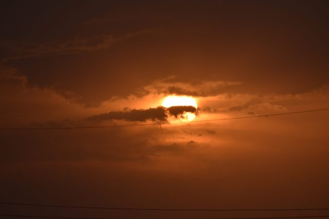 Sun covered with clouds