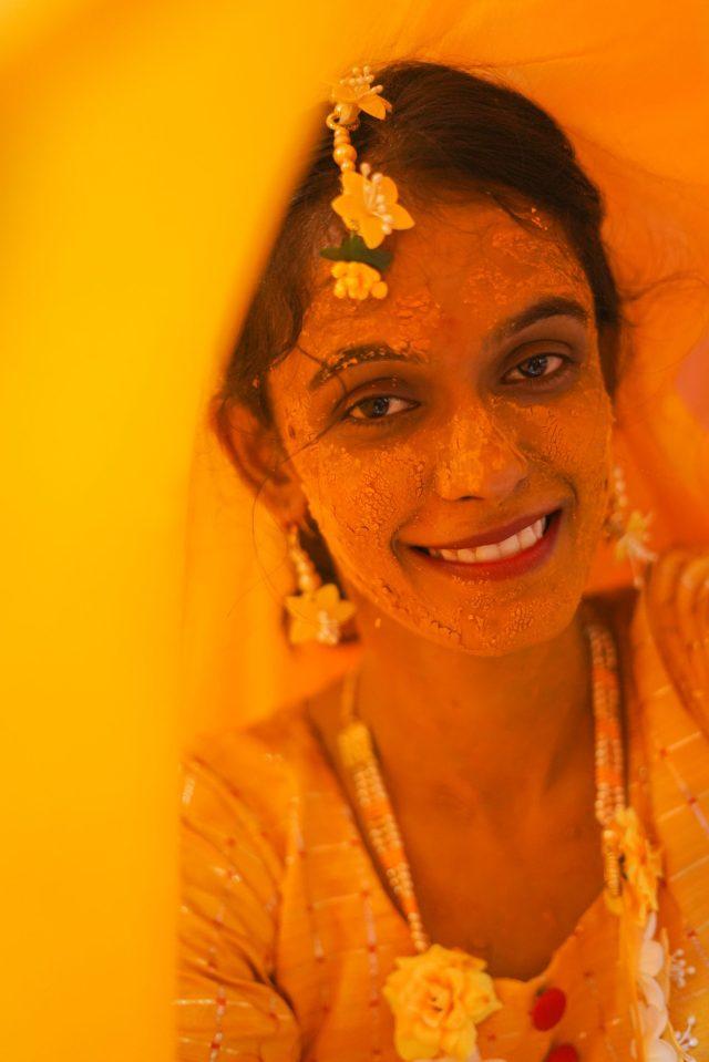 Haldi ceremony woman portrait