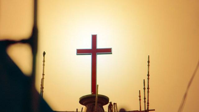 Crucifix on a platform