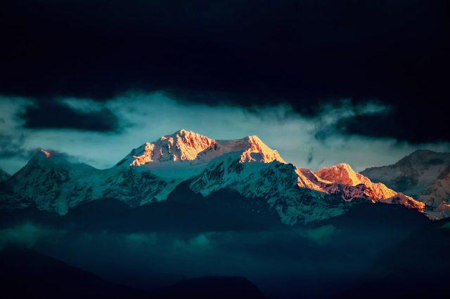 Kanchenjunga Hills Sunlight on its Peak