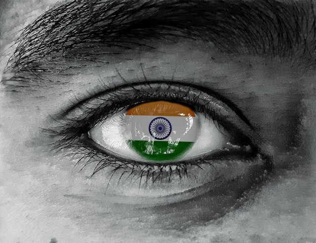 National flag of India reflected in eye