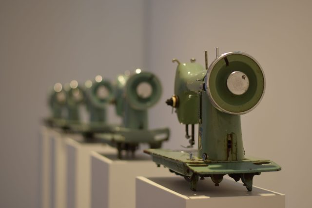 Sewing machines in a line