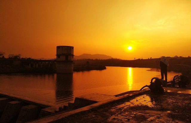 Sunset reflection on a lake