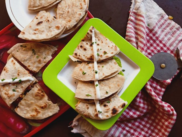 Top view of quesadillas on plate