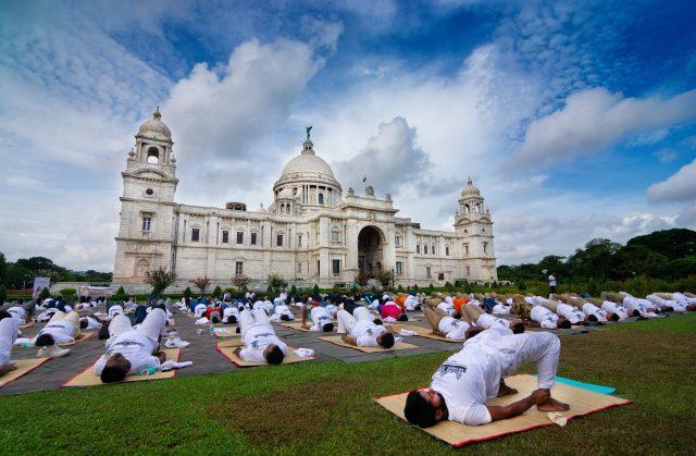 Yoga day at Victoria Memorial