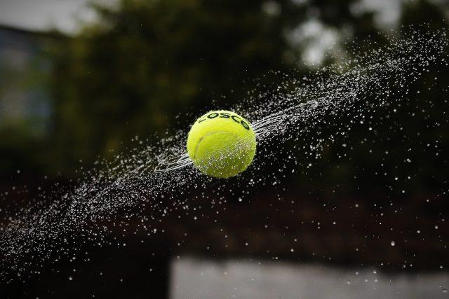 A tennis ball smashed