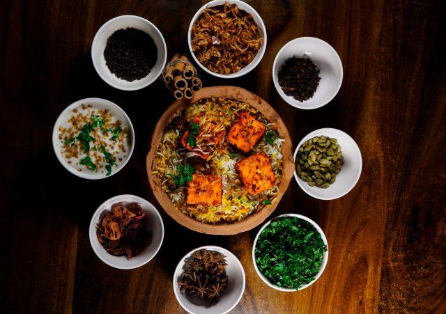 biryani and condiments