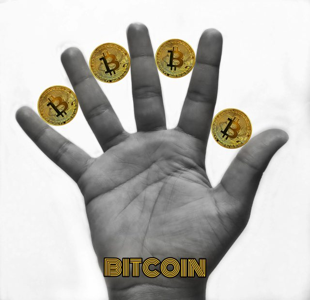 Bitcoin stickers used and highlighted