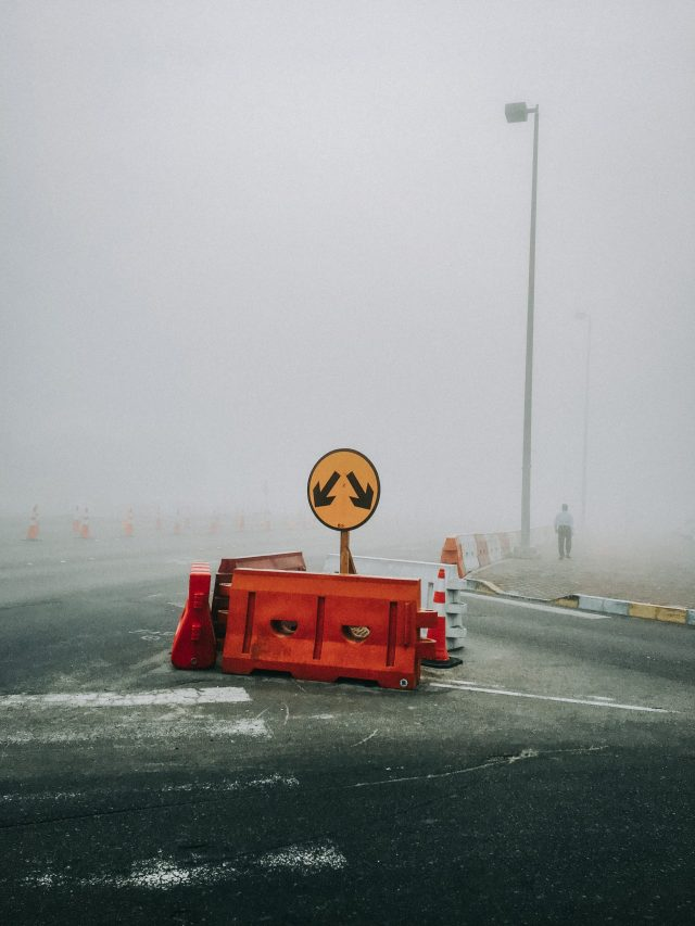 Foggy weather on a road