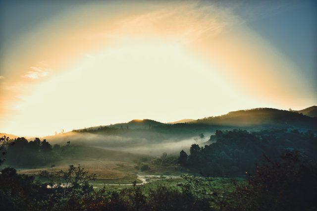 sunlight on hills