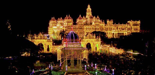 Mysore palace lighting on Dussehra