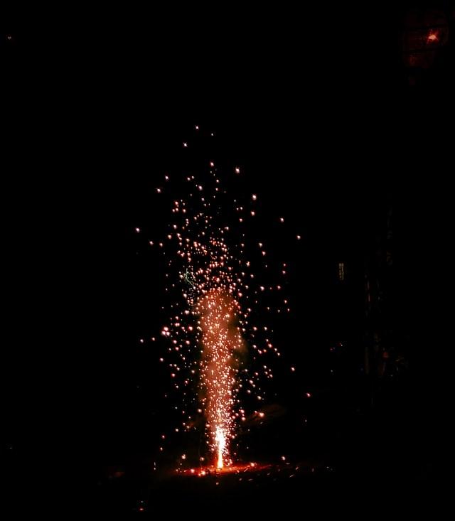 Spark of a fire cracker
