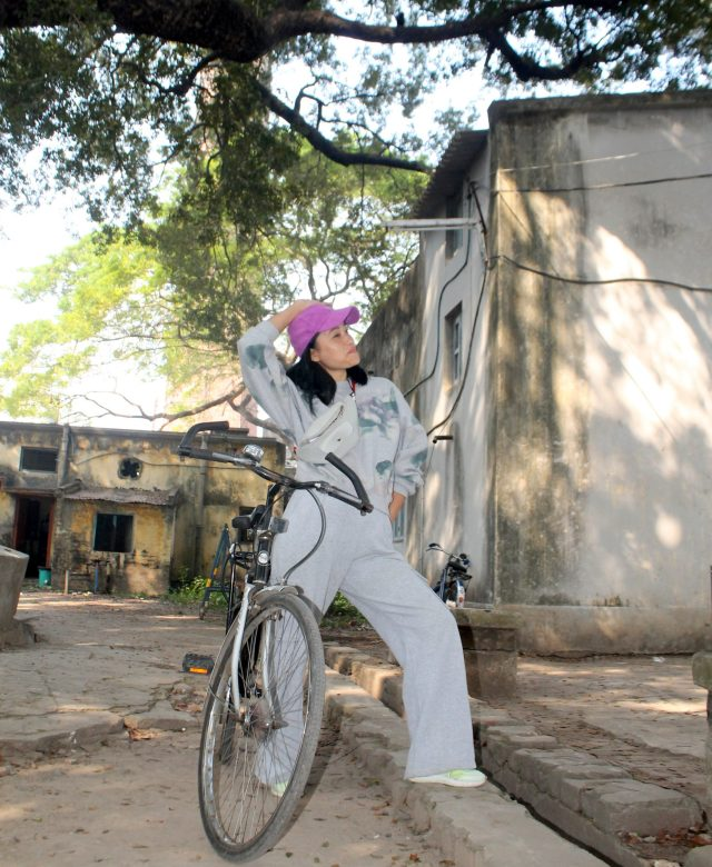A girl with bicycle