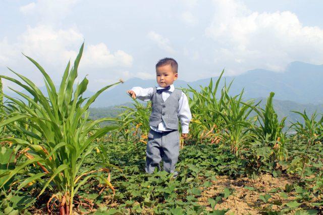 A kid in a field