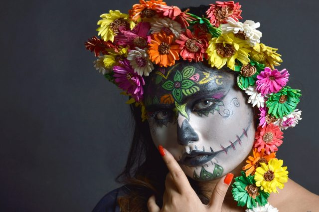 Floral painting on face