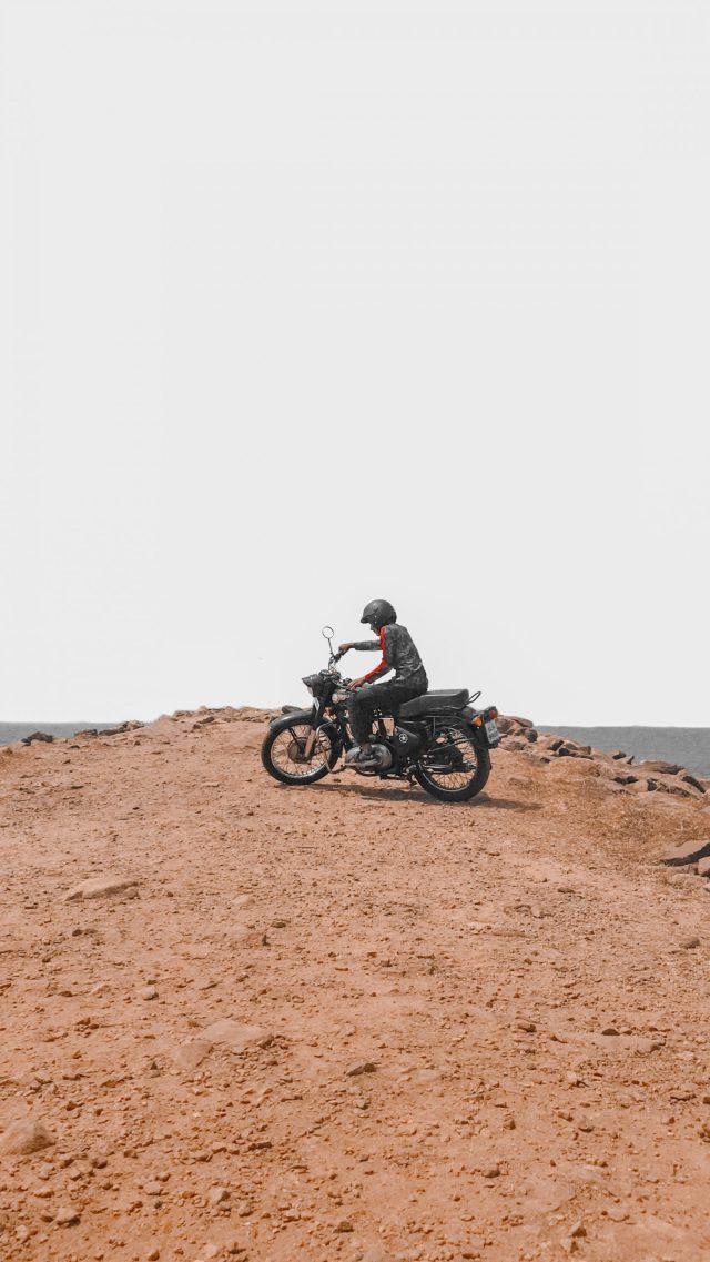 A biker on mountain top
