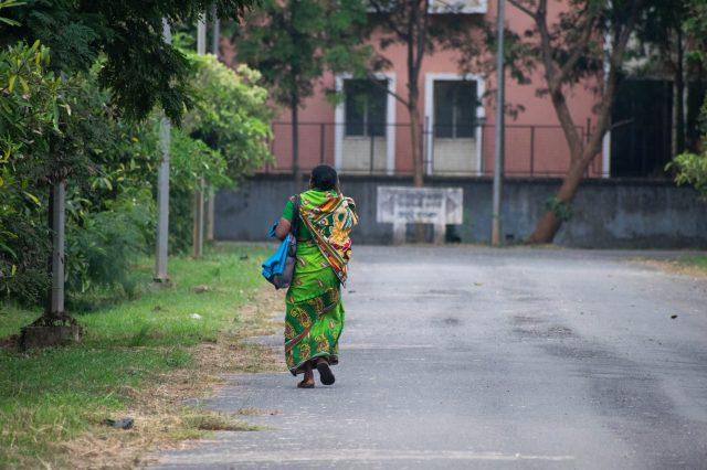 A woman walking alone