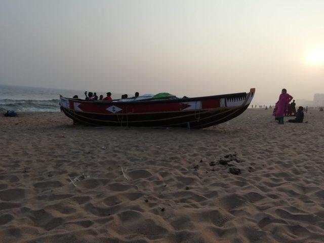 A boat at Ramakrishna beach in Vishakhapatnam