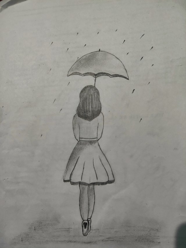 sketch of a girl with umbrella