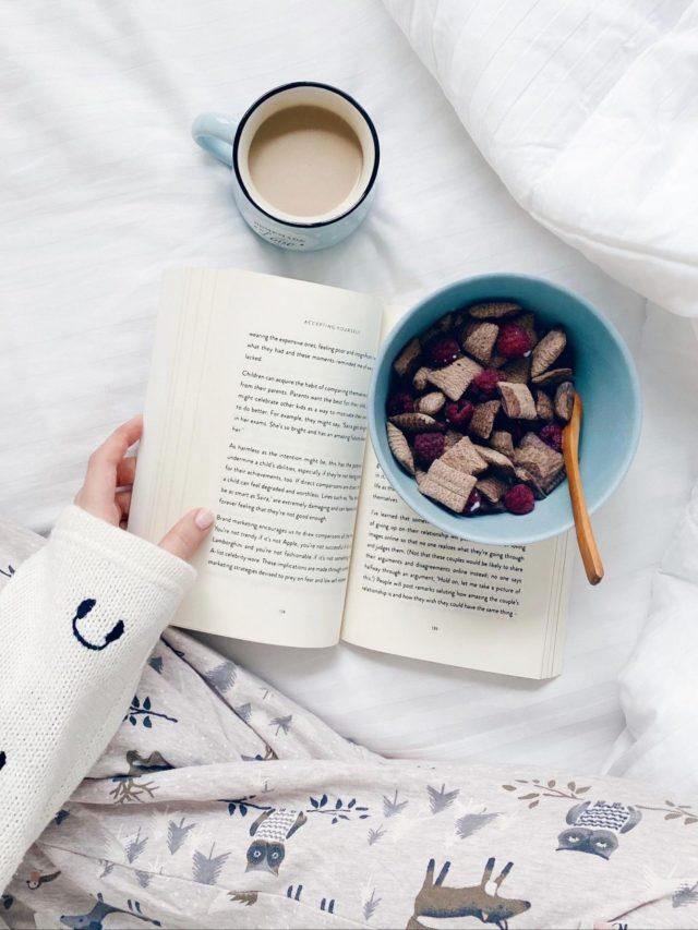 Tea, book and food