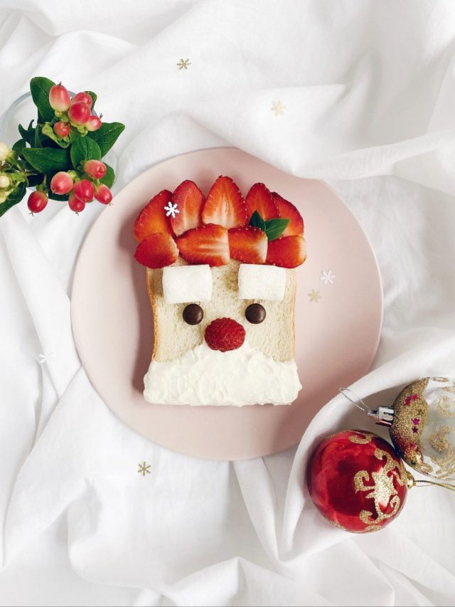 Decorated breakfast on bed