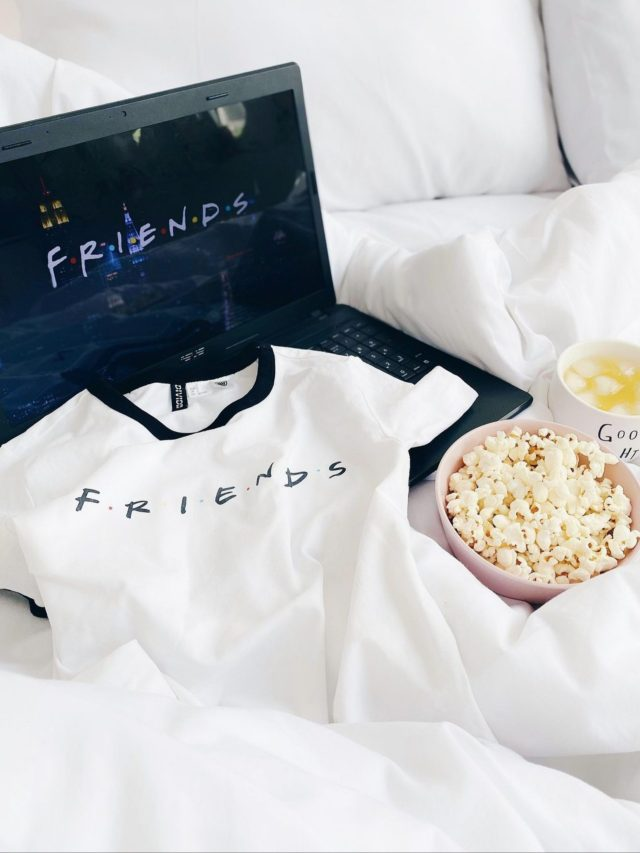 Friends tv show with bowl full of popcorn