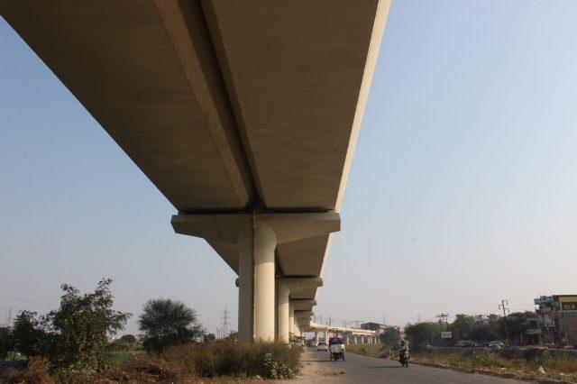 Metro train bridge in Noida