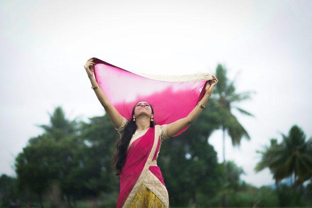 A girl dancing with joy