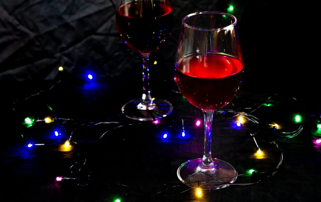 A glass of red wine on the table
