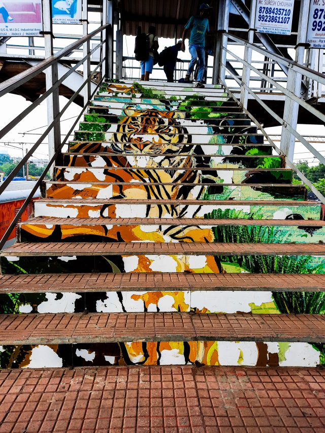 Tiger Painting on steps